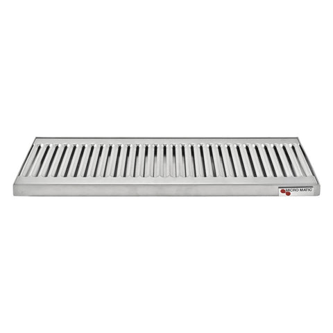 "Micro Matic Stainless Steel Drip Tray – Countertop w/ Drain – 18"" x 5"" x 3/4"" [DP-120D-18]"