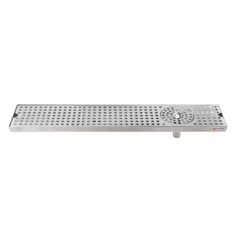 "Micro Matic Stainless Steel Drip Tray – Countertop w/ Spray Glass Rinser & Drain – 24"" x 5"" x 3/4"" [DP-120D-24GR]"