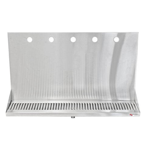 "Micro Matic Stainless Steel Drip Tray – Wall Mounting w/ 5 Shank Holes & Drain – 24"" x 6 1/2"" x 3/4"" [DP-322ELD-5]"