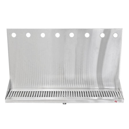"Micro Matic Stainless Steel Drip Tray – Wall Mounting w/ 8 Shank Holes & Drain – 24"" x 6 1/2"" x 3/4"" [DP-322ELD-8]"