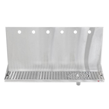 "Micro Matic Stainless Steel Drip Tray – Wall Mounting w/ 6 Shank Holes, Spray Glass Rinser, & Drain – 24"" x 6 1/2"" x 3/4"" [DP-322ELD-6GR]"