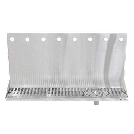 "Micro Matic Stainless Steel Drip Tray – Wall Mounting w/ 8 Shank Holes, Spray Glass Rinser, & Drain – 24"" x 6 1/2"" x 3/4"" [DP-322ELD-8GR]"