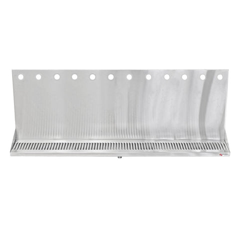 "Micro Matic Stainless Steel Drip Tray – Wall Mounting w/ 12 Shank Holes & Drain – 36"" x 6 1/2"" x 3/4"" [DP-322ELD-12-3]"