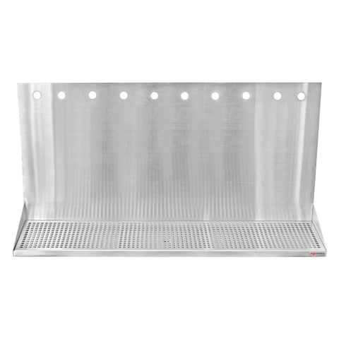 "36"" x 8 1/2"" x 3/4"" Micro Matic Stainless Steel Drip Tray – Wall Mounted w/ 10 Shank Holes & Drain"