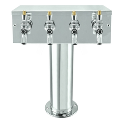 "Micro Matic Stainless Steel ""T"" Beer Tower - Four Faucet [D7744PSS]"