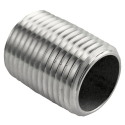"Stainless Steel Close Nipple - 1/2"" Male NPT - 1"" Long"