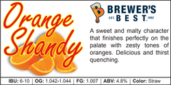 Orange Shandy Recipe Kit - 1.8kg - Canadian Homebrewing Supplier - Free Shipping - Canuck Homebrew Supply