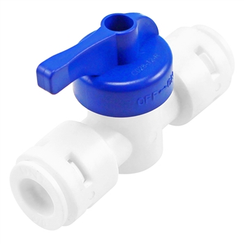 "Food Grade Plastic DM Fit (Push-In) Shut Off Valve - 3/8"" (9.5mm)"