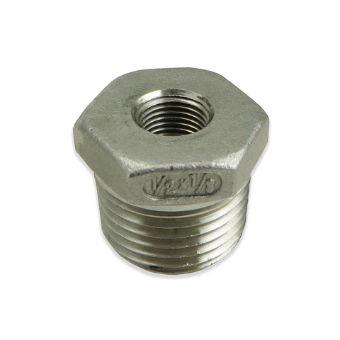"Stainless Steel Reducer Bushing - 1/2"" to 1/8"" FPT"