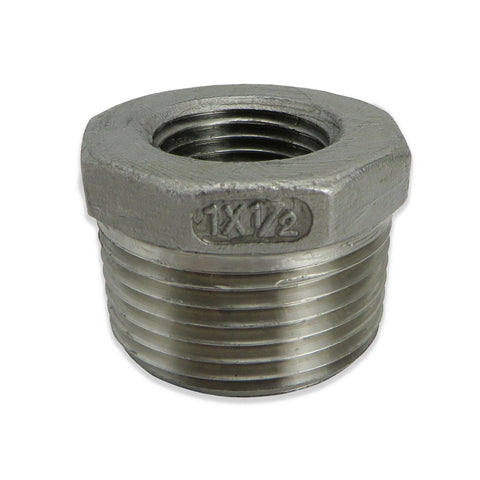 "Stainless Steel Reducer Bushing - 1"" to 1/2"" FPT"