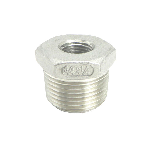 "Stainless Steel Reducer Bushing - 3/4"" to 1/4"" Female NPT"