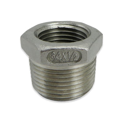 "Stainless Steel Reducer Bushing - 3/4"" to 1/2"" FPT"