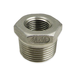 "Stainless Steel Reducer Bushing - 3/4"" MPT to 3/8"" FPT"