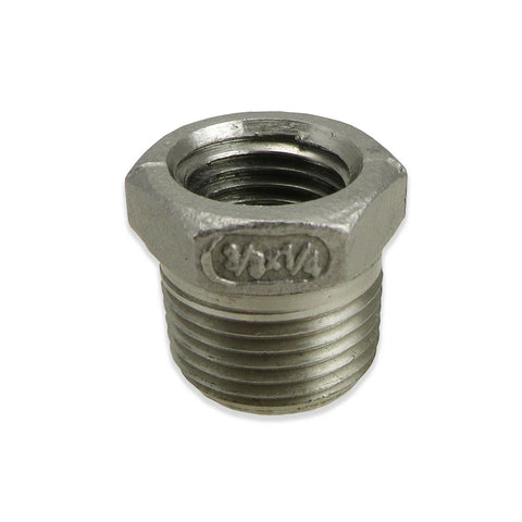 "Stainless Steel Reducer Bushing - 3/8"" MPT to 1/4"" FPT"