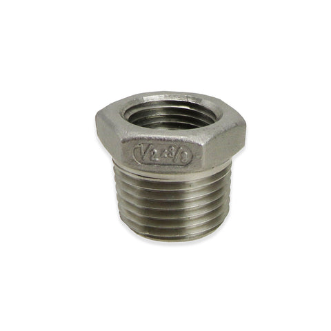 "Stainless Steel Reducer Bushing - 1/2"" MPT to 3/8"" FPT"