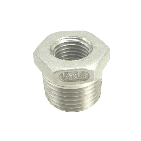 "1/2"" Male NPT to 1/4"" Female NPT Stainless Steel Reducer Bushing"