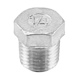 "Stainless Steel Hex Plug - 1/4"" Male NPT"