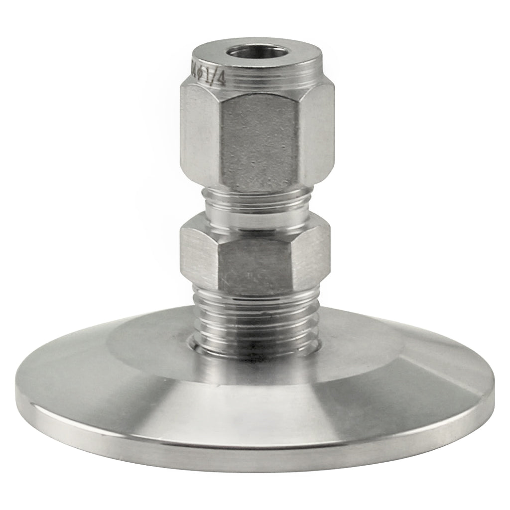 """Stainless Steel Tri-Clover Compression Fitting - 1.5"""" TC to 1/4"""" Comp"""
