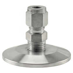 "Stainless Steel Tri-Clover Compression Fitting - 1.5"" TC to 1/4"" Comp"