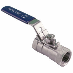 "One Piece Ball Valve - Stainless Steel - 1/2"" Female NPT"
