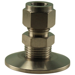 "Stainless Steel Tri-Clover Compression Fitting - 1.5"" TC to 1/2"" Comp"