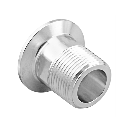 "Stainless Steel Tri-Clover Fitting - 1.5"" TC to 1"" Male NPT"