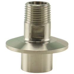 "Stainless Steel Tri-Clover Fitting - 1.5"" TC to 1/2"" Male NPT Outside / 1/2"" Female NPT Inside"
