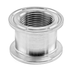 "Stainless Steel Tri-Clover Concentric Threaded Cap Reducer - 1.5"" TC X 1"" TC (1"" NPS)"