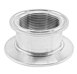 "Stainless Steel Tri-Clover Concentric Threaded Cap Reducer - 2.5"" TC X 2"" TC - 1 1/2"" NPS"