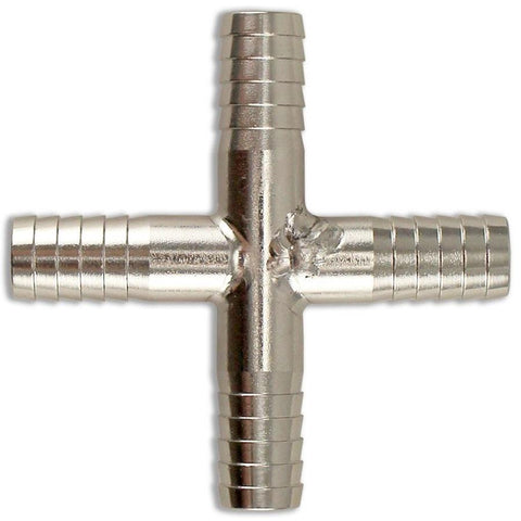 "Stainless Steel Barbed Cross - 3/8"" - Canadian Homebrewing Supplier - Free Shipping - Canuck Homebrew Supply"