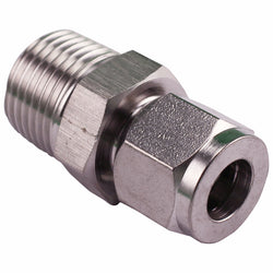 "Stainless Steel Fitting - 1/2"" Male NPT to 3/8"" Compression"