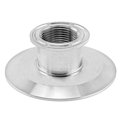"Stainless Steel Tri-Clover Concentric 1"" NPS Threaded Cap Reducer - 3"" TC X 1.5"" TC"