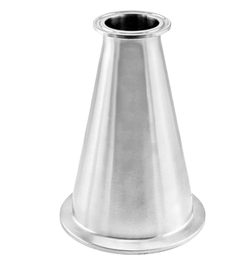 "Long Stainless Steel Tri-Clover Concentric Reducer - 4"" TC X 2"" TC"
