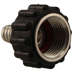 "Stainless Steel Barbed Quick Connector - 1/2"" Female NPT to 3/8"" Barb"