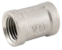 "Stainless Steel Banded Coupler - 1/4"" Female NPT to 1/4"" Female NPT"
