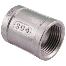 "3/4"" Female NPT to 3/4"" Female NPT Stainless Steel Banded Coupler"
