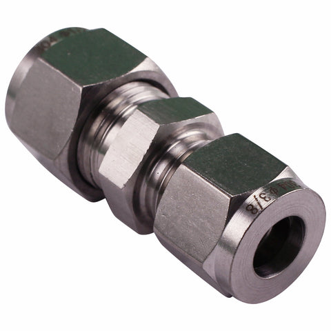 "Stainless Steel Fitting - 1/2"" Compression to 3/8"" Compression"