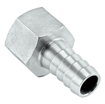 "Stainless Steel Barb - 1/2"" Female NPT to 3/8"" Barb"