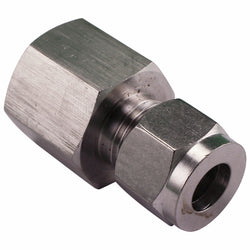 "Stainless Steel Fitting - 1/2"" Female NPT to 3/8"" Compression"