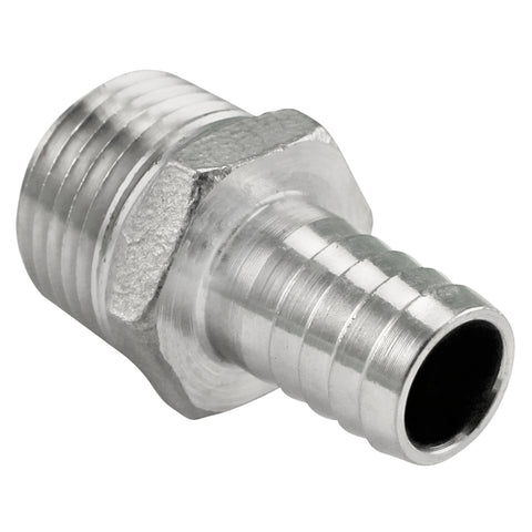 "Stainless Steel Compact Barb - 1/2"" Male NPT to 1/2"" Barb"