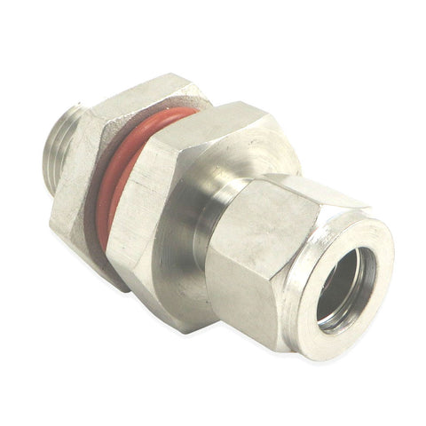 "Stainless Steel HERMS Bulkhead - 1/2"" Male NPT to 1/2"" Compression"