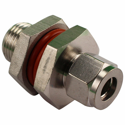 "Stainless Steel HERMS Bulkhead - 1/2"" Male NPT to 3/8"" Compression"