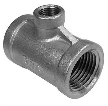 "Stainless Steel Tee - 1/8"" Female NPT to Two 1/2"" Female NPT"