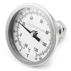 "Ss Brewtech Threaded Bulkhead Thermometer - 1/2"" NPT"