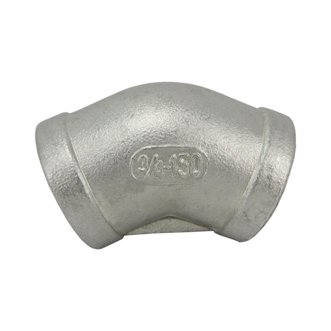 "Stainless Steel 45° Elbow - 3/4"" FPT"