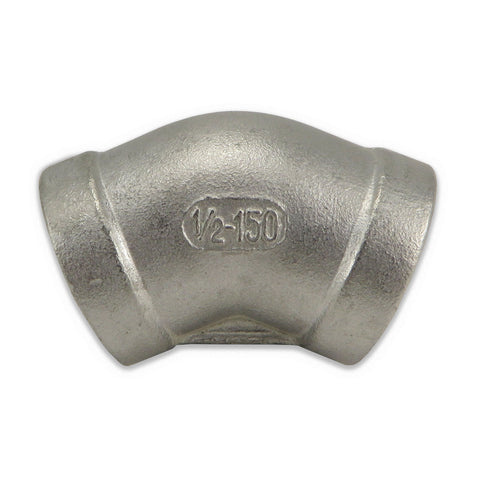 "Stainless Steel 45° Elbow - 1/2"" FPT"