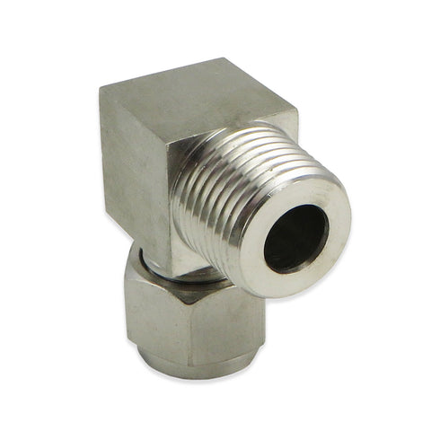 "Stainless Steel Elbow - 1/2"" MPT to 3/8"" Compression"
