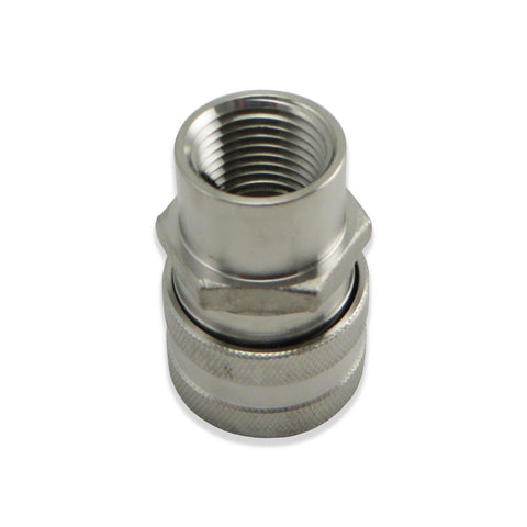 "Stainless Steel Fitting - Female Quick Disconnect to 1/2"" FPT"