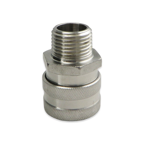 "Stainless Steel Female Quick Disconnect to 1/2"" MPT"