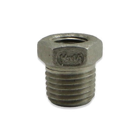 "Stainless Steel Reducer Bushing - 1/4"" MPT to 1/8"" FPT"